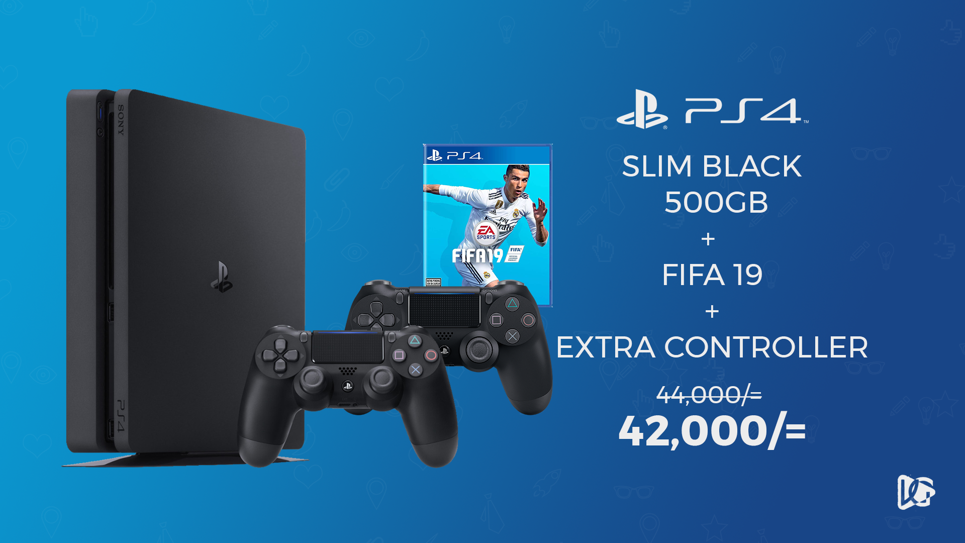 PlayStation 4 Slim, Extra Controller and FIFA 19 at 10% off!