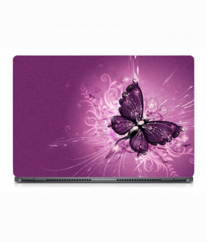Pink butterfly laptop skin
