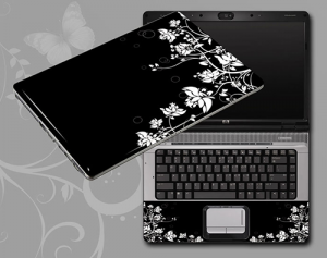 Black and white flowers laptop skin