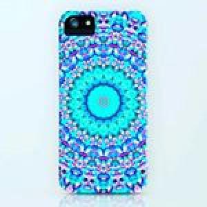 Bright blue mandala phone case