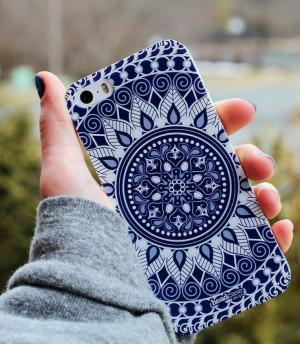 Blue and white mandala phone case